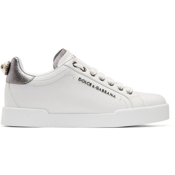 9921e6931e54 Dolce and Gabbana White and Silver Leather Sneakers ( 615) ❤ liked on  Polyvore featuring