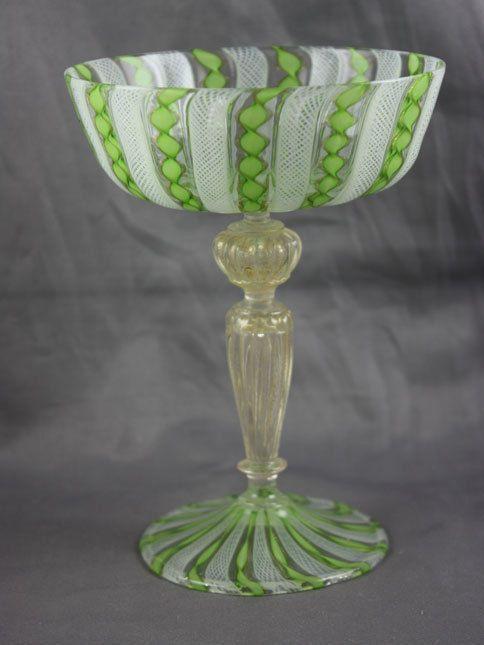 Vintage Italian Murano Latticino Champagne Glass