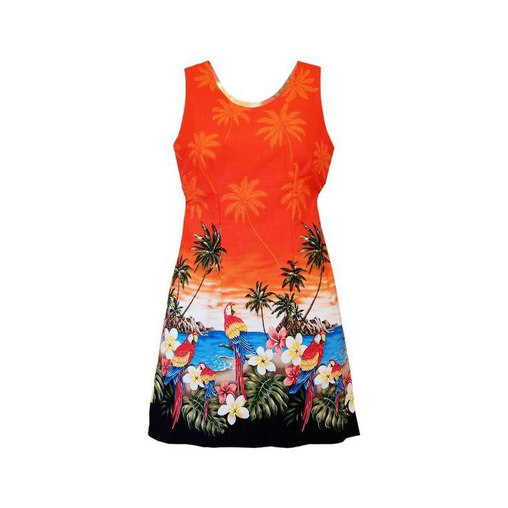 Parrot-Dise Orange Short Hawaiian Tank Floral Dress - PapayaSun