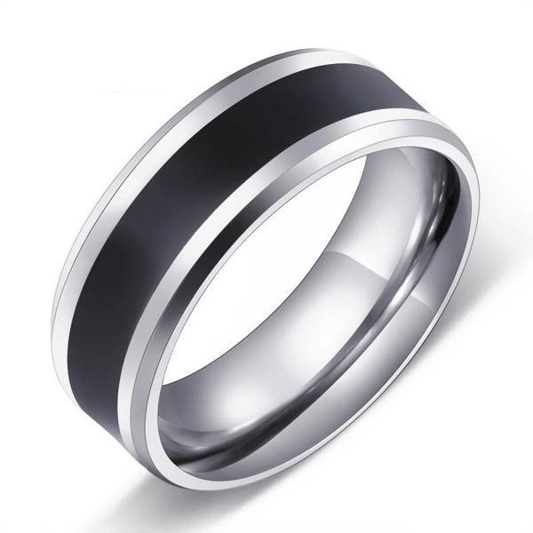 Stainless Steel Tungsten Stripe Ring