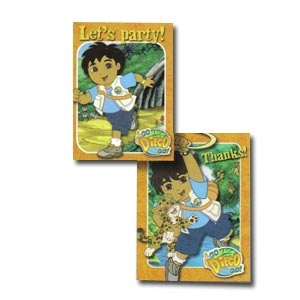 Go Diego Go Invitation/Thank You Note Combo. 8 invitations & 8 Thank you Notes.