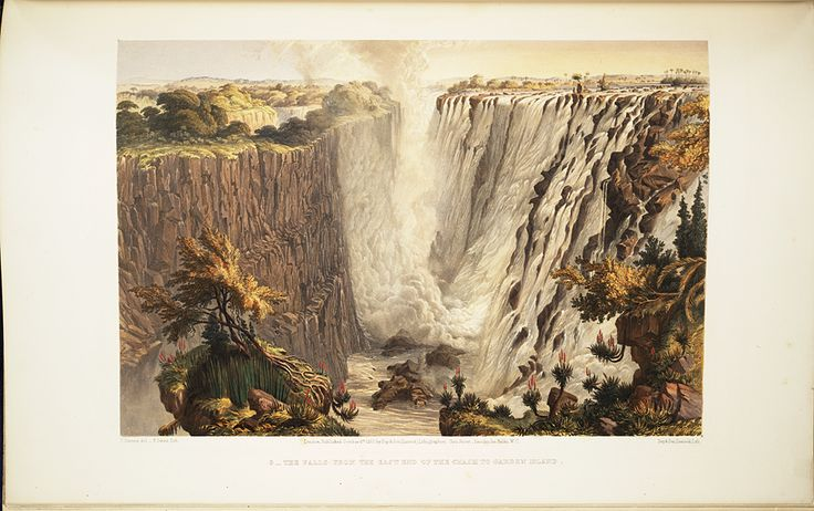 In 1862 British artist and explorer Thomas Baines visited the Falls and created lushly rendered paintings of the site. These works were exhibited, published as chromolithographs, and made into lantern slides.,  Image number:SIL28-274-08
