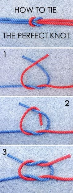 We know that tying a secure knot is an important survival skill. Learn how to tie a traditional square knot, a.k.a. reef knot. How-to shown here: www.ehow.com/...http://www.ehow.com/ehow-outdoors/blog/how-to-tie-the-perfect-knot/?utm_source=pinterest&utm_medium=fanpage&utm_content=blog&crlt.pid=camp.nRrftXP3D0DE