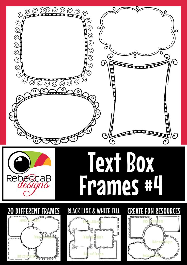 Text Box Frames 3 contains 20 different frames in black line and white fill for a total of 40 images. These frames are approx. 4×4 inches in size. C