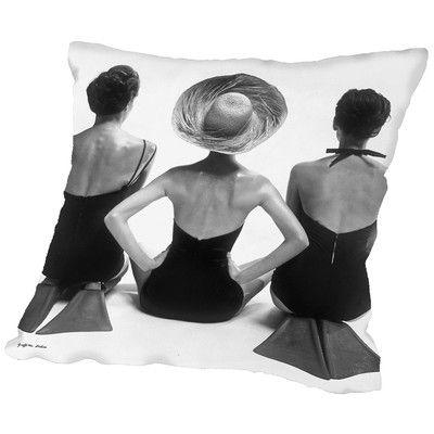 "East Urban Home 1950S Swim Suit Models Throw Pillow Size: 16"" H x 16"" W x 2"" D"