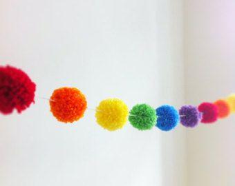 Rainbow Yarn Pom Pom Garland  - pom poms, handmade pom poms for Party Decor, Banners, Buntings and Photo Props
