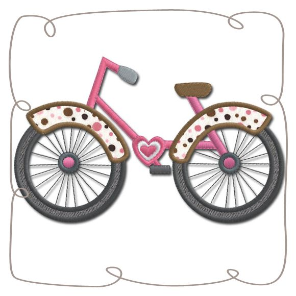 Paris Bicycle Applique Machine Embroidery Design Pattern-INSTANT DOWNLOAD