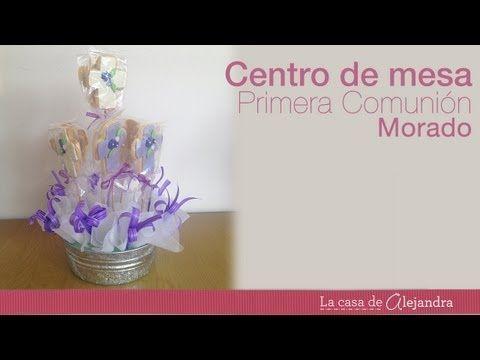 18 best primera comuni n y bautizo images on pinterest first communion tables and candies - Como hacer centros de mesa para bautizo ...
