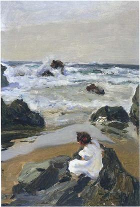 Elenita at the Beach, Asturias - Joaquín Sorolla