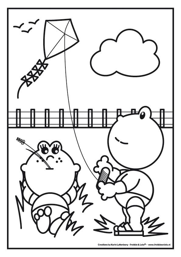 Frokkie en Lola aan het vliegeren