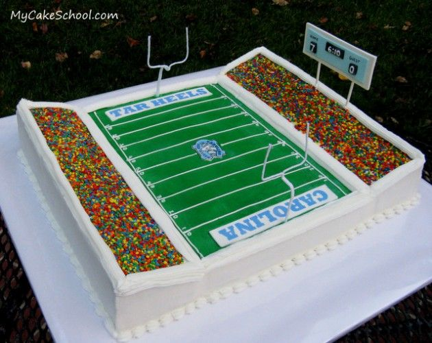 Calling all football fans!  In this video tutorial, you will learn to make a football stadium cake!  (Easily transferrable to other sports!)