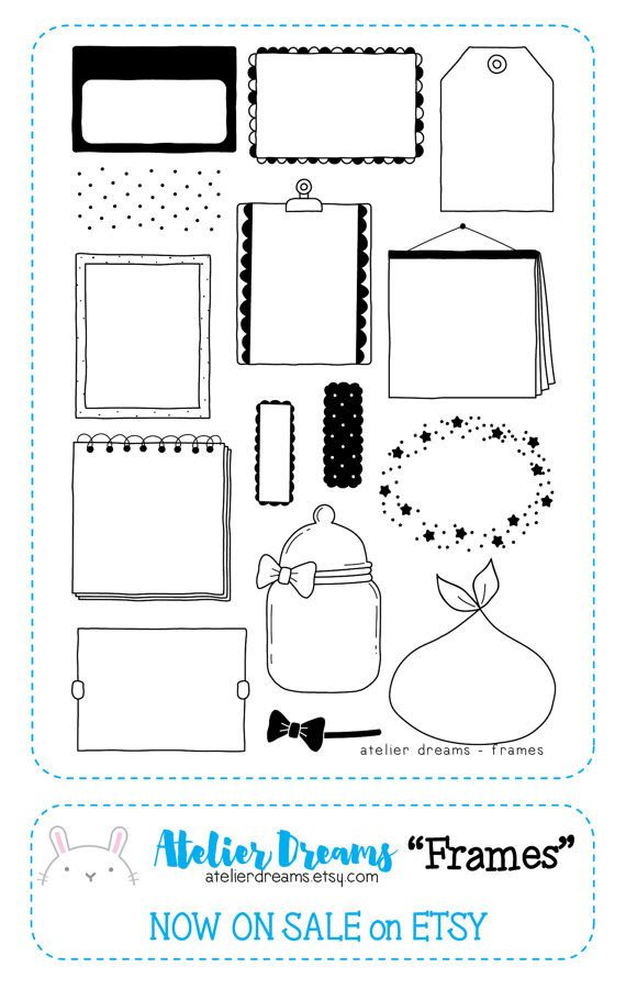 Frames - Planner Stamps (Photopolymer Clear Stamps) border stamps, kawaii stamps, clear stamps, daily stamps