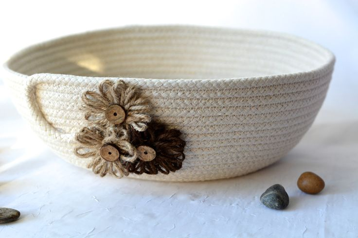 Cute Yarn Bowl, Handmade Rope Basket, Modern Clothesline Basket, Lovely Candy Bowl,  hand coiled natural rope basket by WexfordTreasures on Etsy
