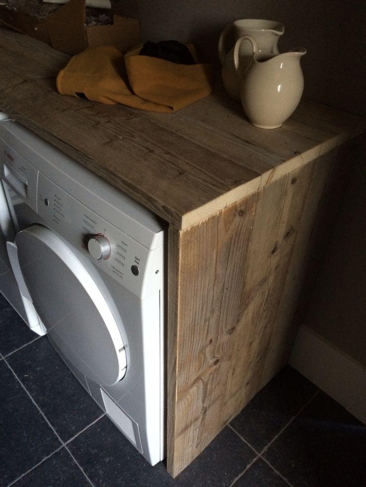 Ombouw van steigerhout om wasmachine en droger.  www.steigerhoutvoordeel.nl maakt deze graag voor u op maat!