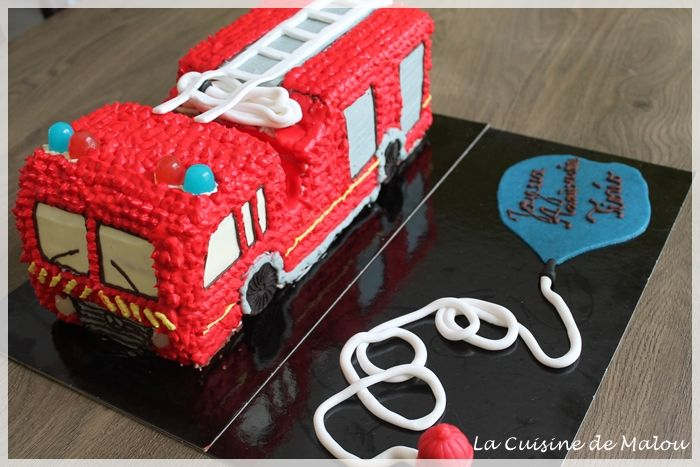 Gâteau camion de pompier-tutoriel