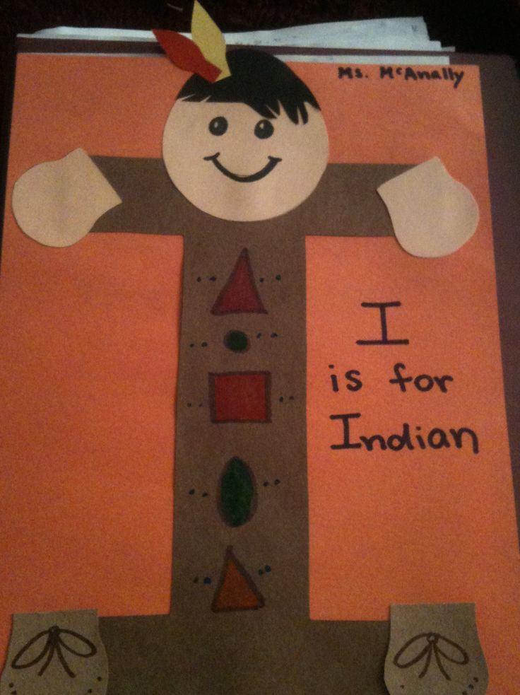 I design something out of each letter to use as an art project--I is for Indian (great to use around Thanksgiving!)