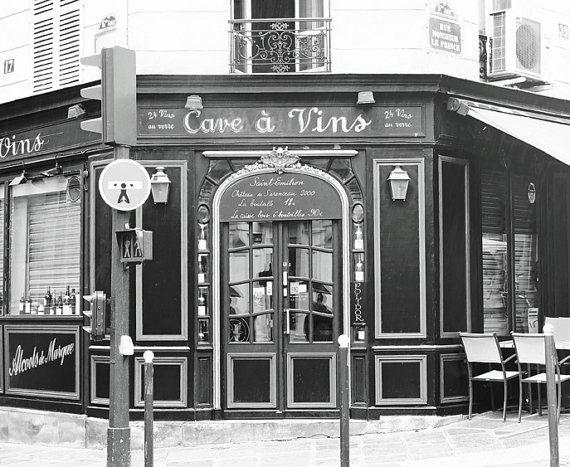 Cafe de Paris, impresión de fotografía, blanco y negro, París decoración, café francés, Bistro, arte de la pared, fotografía de viajes, Paris Photo, impresión 8 x 10