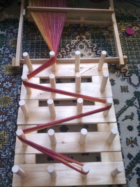 direct warping a RH loom with a warping board