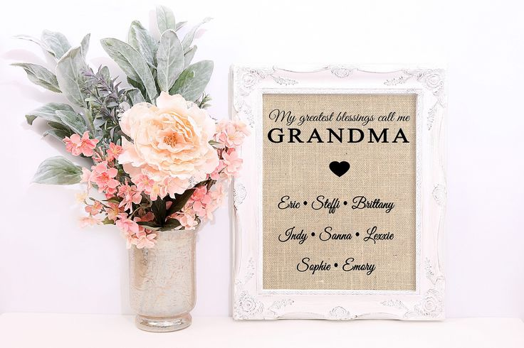My Greatest Blessings Call Me Grandma, Burlap Print Customized With Grandma Name and Grandchildren. Grandma will love this print, personalized with the names of her grandchildren. Perfect for Mother's Day, Grandma's Birthday, or any day! GRANDMA can be changed to any other name. Print will be formatted just as picture. Burlap prints measure 8x10 inches and come ready to frame. Can be used in an 8x10 frame or also fit nicely in an 11x14 frame with an 8x10 mat. Frames not included. .