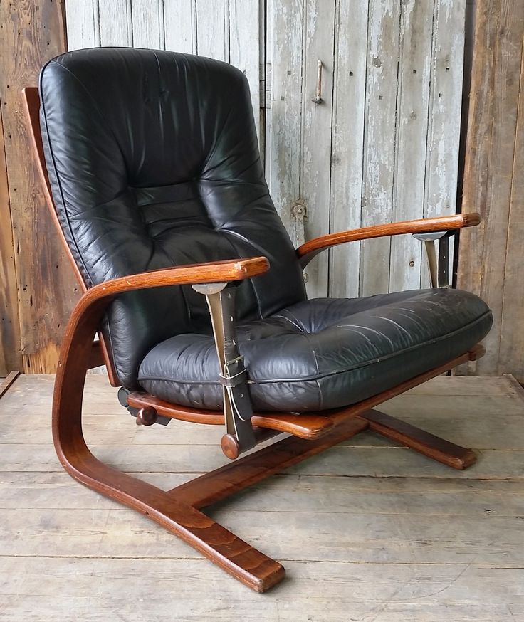 Mid century Scandinavian leather recliner chair.