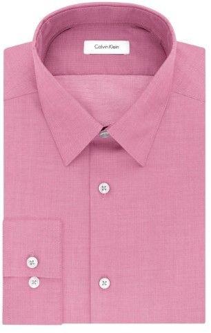 Calvin Klein Primrose Pink Mens Size 17 Slim Fit Dress Shirt