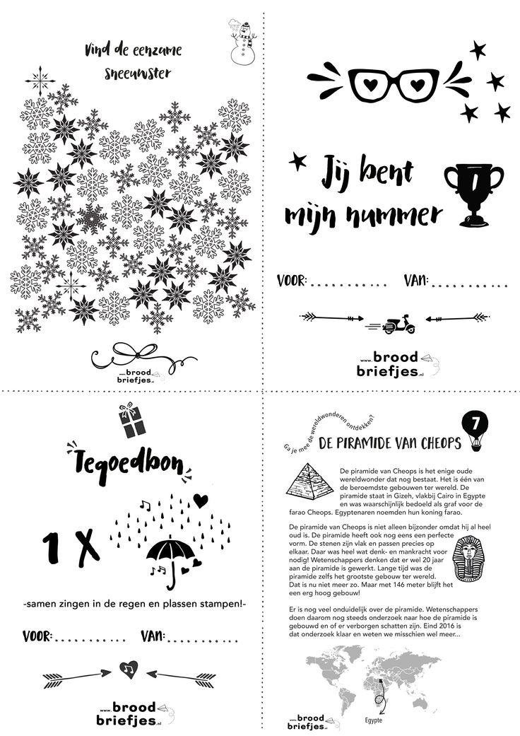 We hebben weer nieuwe toffe BroodBriefjes te printen: een tegoedbon voor lekker zingen in de regen, sneeuwvlokken kijken, een wereldwonder en natuurlijk weer een dikke opsteker!