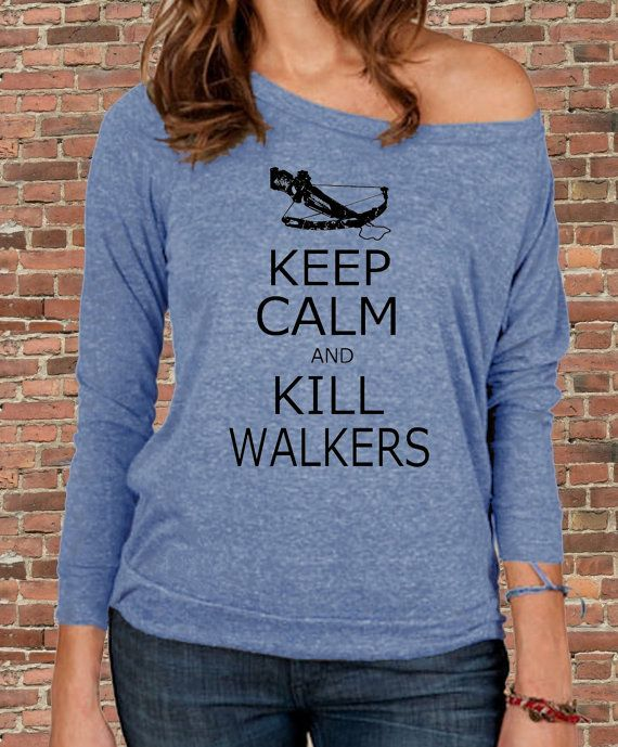 Keep Calm and KILL WALKERS zombies The Walking Dead Daryl Carry on Parody Womens Long sleeve Pullover shirt silkscreen