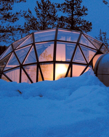 "Cool Vacation idea.  ""Finland  Snuggle into a glass igloo at Hotel Kakslauttanen. The fully appointed geometric domes let the view in (the sky is completely flecked with stars at night) but keep the cold out. Hitch up a dogsled during the day..."""