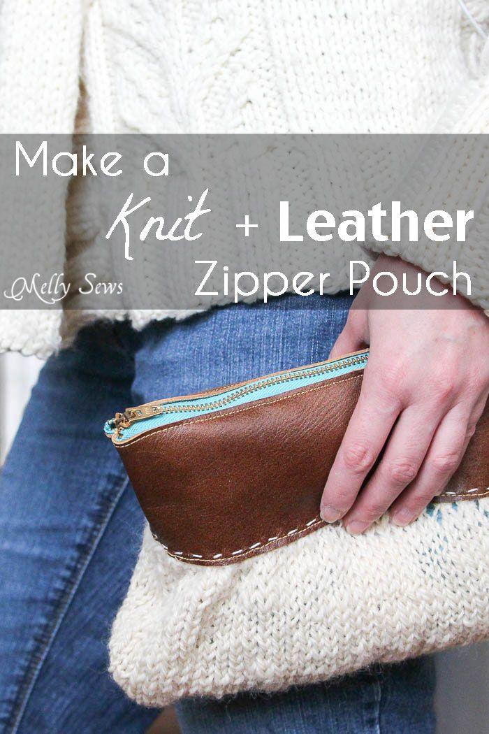 Knitting Zipper Tutorial : Knit and leather zipper pouch diy clutch
