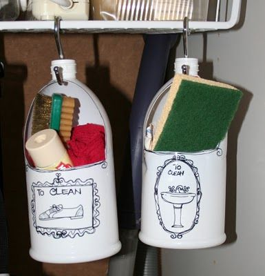 DIY Organized Cleaning - reuse plastic jugs ( cut out hole as shown &  decorate &  simply hang using Social Hooks