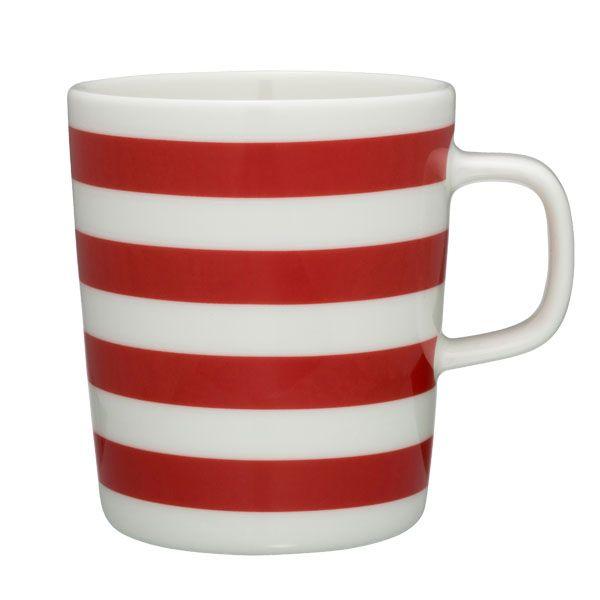 Tasaraita mug, red-white