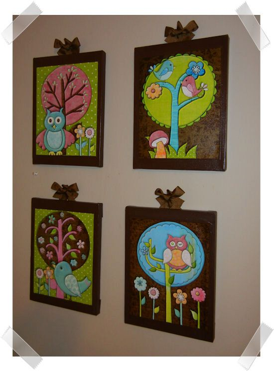 Nature Lover Birds and Owls Girl Set of 4 by art4theLITTLEpeople