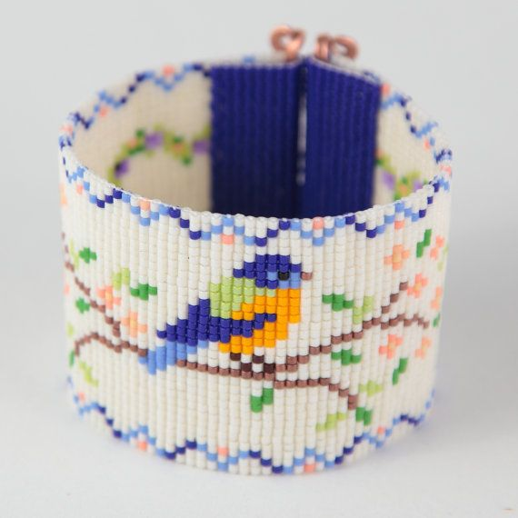 Bluebird de la felicidad grano telar pulsera Boho por PuebloAndCo
