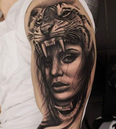 Woman and Tiger Tattoo   Venice Tattoo Art Designs