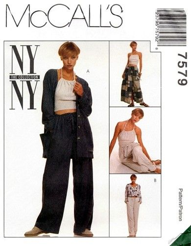 McCall's 7579 Knockaround Shirt, Halter Top, Drawstring Skirt & Pants 1995