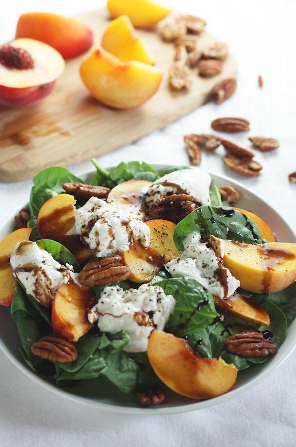 Fresh Peach & Spinach Salad with Burrata | Set the Table