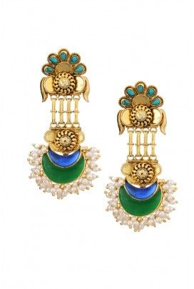 Drop earrings with multicolour setting.