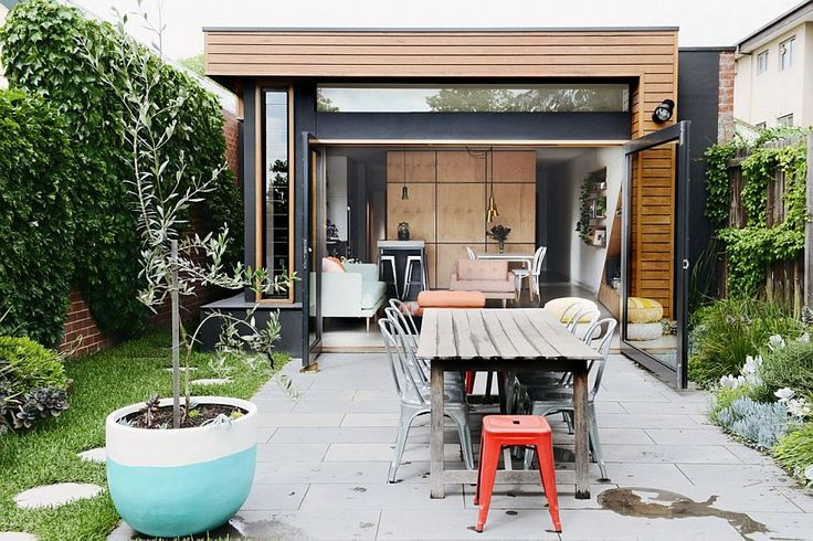 New addition opens up the small house to the rear yard Cool Central Pod and a Cheerful Living Space Revive Dreary Melbourne Home