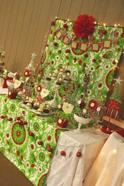 Whimsical Christmas Dessert Table ~ Sweets Table ~ Candy Buffet ~ Lime, Red, White, and Silver Christmas Party