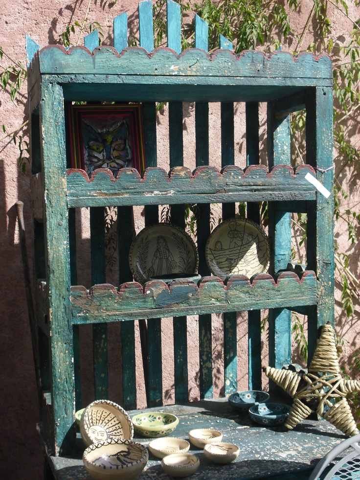 Vintage mexican trastero in shades of blue mexican home for Trasteros de madera para jardin