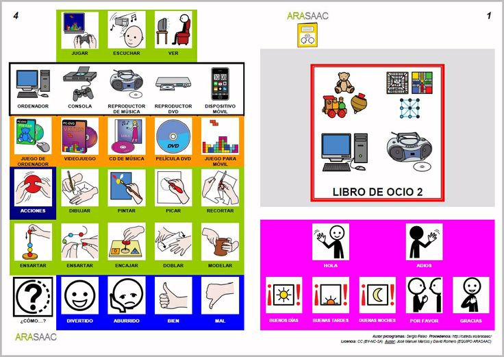 MATERIALES - Libros de Comunicación Aumentativa y Alternativa: Libro de ocio 2. http://arasaac.org/materiales.php?id_material=553