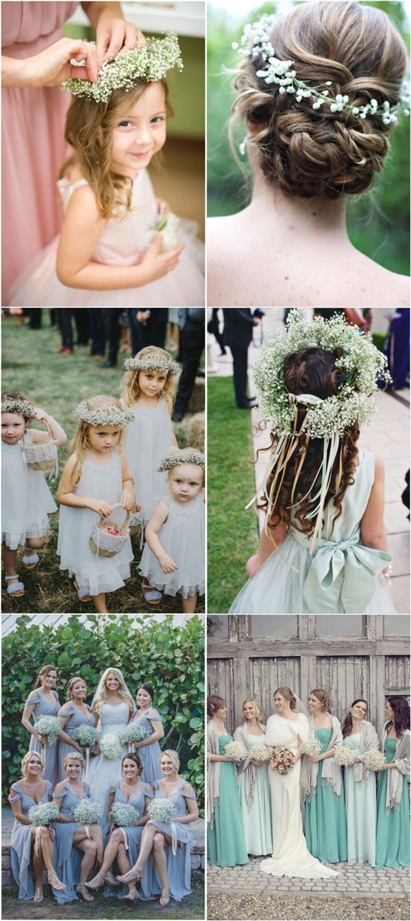 baby breath wedding hairstyles and bouquets / http://www.deerpearlflowers.com/rustic-budget-friendly-gypsophila-babys-breath-wedding-ideas/2/