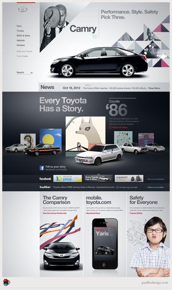 Amazing Web Design Ideas: toyota #webdesign #design #designer #inspiration #user #interface #ui