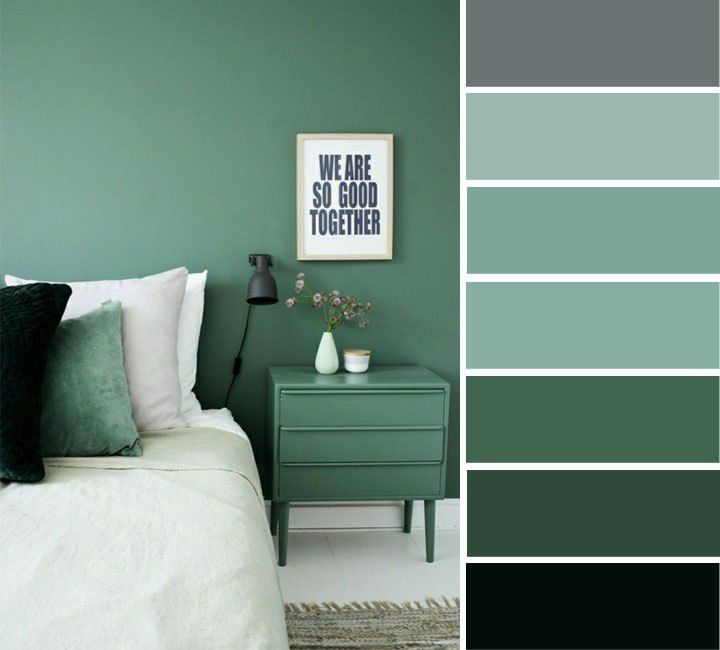 Grey and green bedroom color ideas | home color ideas , grey and green  ,color inspiration #color
