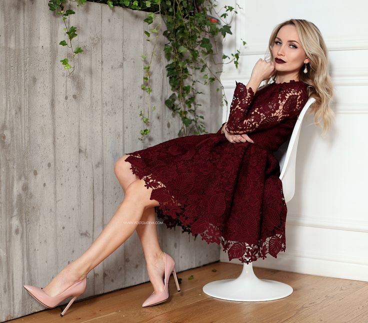 lace-dress-6 #lacedress #marsala #dress #lace #elegantdress #fallwinter #fw1617 #stilettos #nudestilettos #nude #cocktaildress