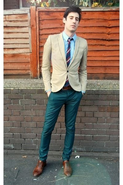 Blue shirt. Beige jacket. Deep teal pants. Dark Brown ...