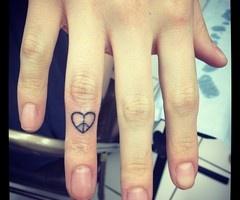 Peace heart finger tattoo