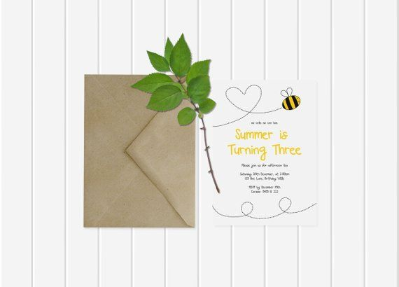 Personalised As Cute As Can Bee Third Birthday Invitation Or Any