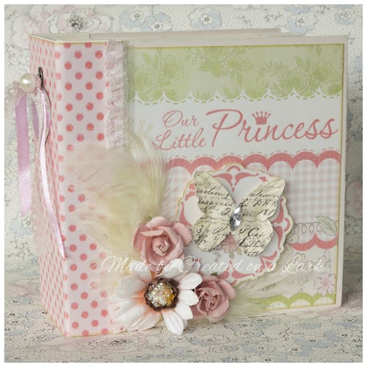 """This is a very girly 6""""x6"""" mini album using DCWV Preppy Princess paper stack. This album is listed for sale in my Etsy shop: http://etsy.me/ZNNbwP I used a t..."""