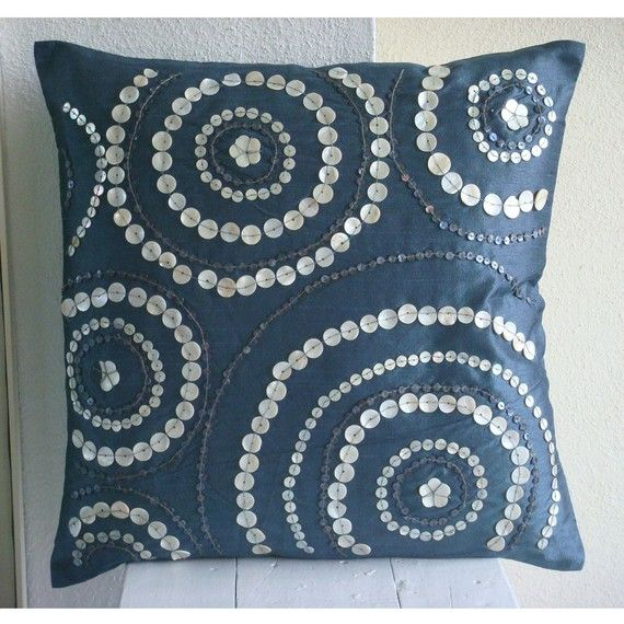 Decorative Throw Pillow Covers Accent Pillows Couch Pillows 16 Inch Silk Pillow Cover Mother of Pearl Embroidered Midnight Moon Home Decor